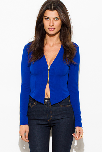 $15 - Cute cheap royal blue textured long sleeve asymmetrical hem zip up fitted jacket top