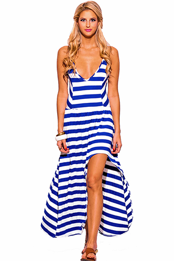 $20 - Cute cheap high low dress - royal blue white nautical stripe deep v neck high low slit boho summer maxi sun dress