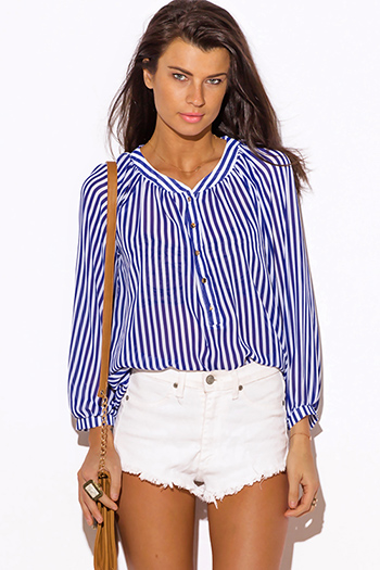 $15 - Cute cheap clothes - royal blue white nautical stripe semi sheer chiffon pintuck blouse top