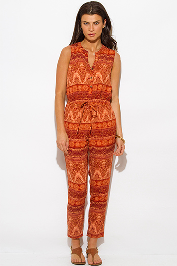 $10 - Cute cheap slit jumpsuit - rust orange ethnic print boho harem jumpsuit