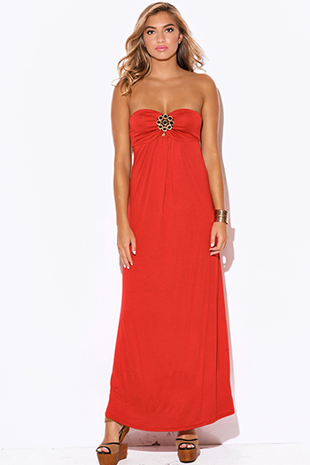 $15 - Cute cheap bejeweled evening maxi dress - rust orange medallion bejeweled strapless evening sexy party maxi dress