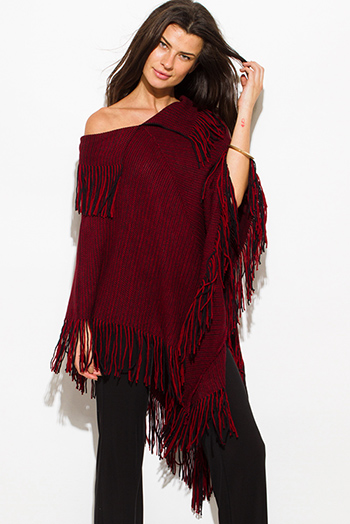 $25 - Cute cheap black top - rust red black two tone v neck boho fringe poncho sweater tunic top