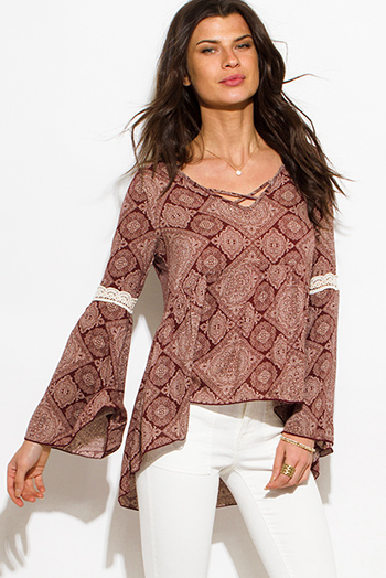 $15 - Cute cheap print fringe top - rust red regal print caged front bell sleeve boho peasant blouse top