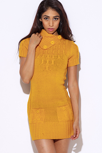 $15 - Cute cheap find sweater - rust yellow cable knit short sleeve fitted sweater mini dress