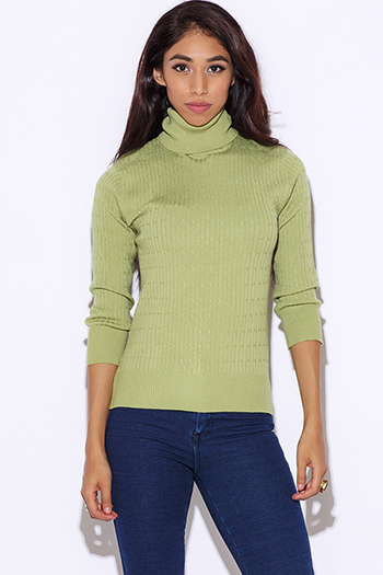 $7 - Cute cheap top sweater cardigan - sage green turtleneck long sleeve cable knit sweater top