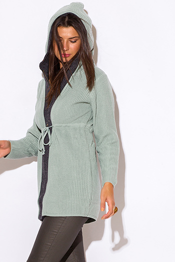 $15 - Cute cheap sage green zip up drawstring zip up long sleeve sweater hoodie jacket