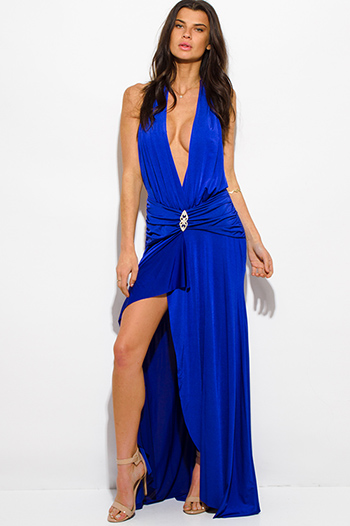 $30 - Cute cheap navy blue crochet dress - royal blue halter deep v neck front slit backless formal gown evening sexy party dress