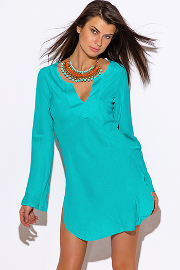 $20 - Cute cheap clothes - sea blue Indian collar boho beach cover up tunic top mini dress