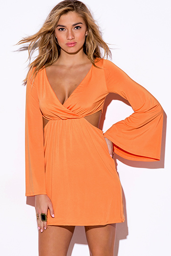 $15 - Cute cheap color orange dress - sherbert orange cut out deep v neck bell sleeve boho sexy party mini dress