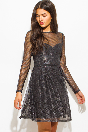 $20 - Cute cheap black leather mini dress - silver black shimmery metallic fishnet mesh long sleeve sweetheart boat neck a line cocktail sexy party mini dress
