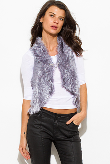 $15 - Cute cheap black gray faux fur sexy party vest top - silver gray fuzzy faux fur contrast ribbed sweater knit racer back vest top