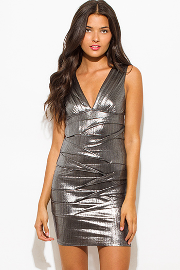 $20 - Cute cheap ruched party mini dress - silver gray metallic sleeveless low v neck ruched bodycon fitted bandage cocktail party sexy club mini dress