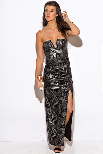 $15 - Cute cheap animal print dress - silver metallic animal print sweetheart v neck high slit strapless formal evening cocktail sexy party maxi dress