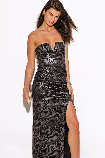 $10 - Cute cheap bright white ruched deep v high slit evening maxi dress 99450 - silver metallic animal print sweetheart v neck high slit strapless formal evening cocktail sexy party maxi dress