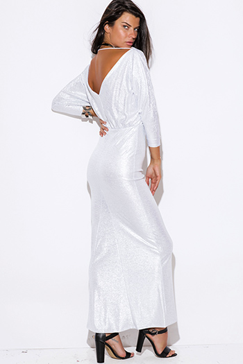 $20 - Cute cheap maxi dress - light silver metallic backless off shoulder doman long sleeve formal evening sexy party maxi dress