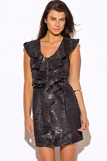 $12 - Cute cheap black ruffle boho dress - silver metallic black ruffle cocktail sexy club mini dress
