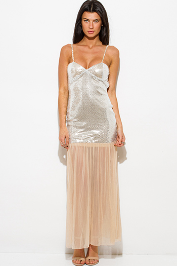 $30 - Cute cheap backless evening maxi dress - silver sequined bustier backless bejeweled formal evening cocktail sexy party mesh maxi dress