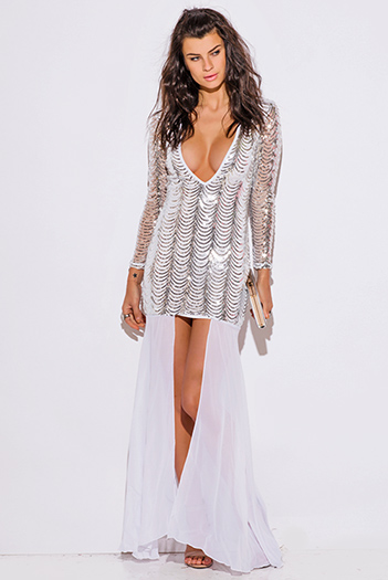 $60 - Cute cheap slit wrap evening dress - silver sequined white long sleeve high low slit fomral cocktail sexy party evening dress