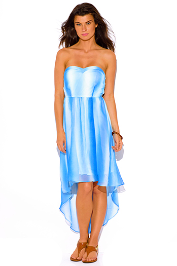 $10 - Cute cheap print strapless sun dress - blue tie dye print chiffon sweetheart strapless high low boho summer sun dress
