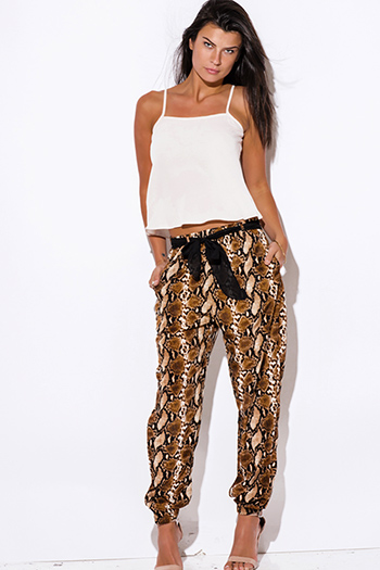 $15 - Cute cheap animal print pants - brown pyphon snake animal print satin bow tie sash jogger pants