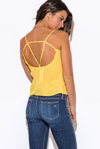 $10 - Cute cheap cut out sides banded waisted tank top - yellow caged cut out back tank top