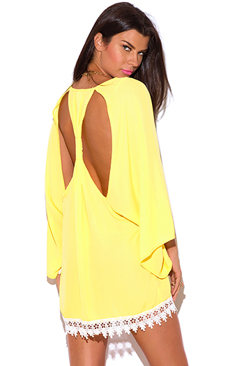 $20 - Cute cheap cheap clothes embroidered kimono sleeve boho tunic top - sunny yellow cut out back crochet trim kimono sleeve backless boho tunic mini dress