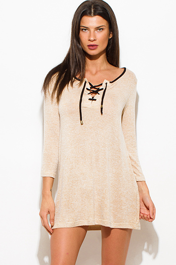 $15 - Cute cheap cotton jumpsuit - tan beige two toned cotton blend long sleeve laceup front tunic top mini shirt dress