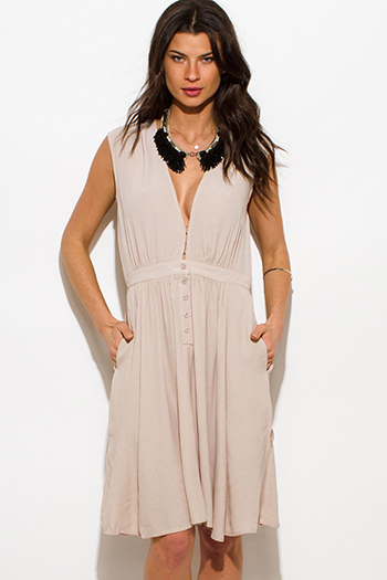 $15 - Cute cheap backless cocktail midi dress - taupe beige rayon gauze sleeveless drop waist pocketed resort boho midi sun dress