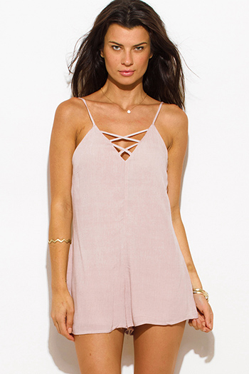 $15 - Cute cheap rust red chiffon slit blouson sleeve deep v neck cut out open back romper playsuit jumpsuit - taupe beige rayon gauze sweetheart v neck criss cross caged neck spaghetti strap romper playsuit jumpsuit