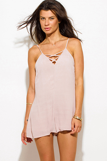 $15 - Cute cheap sweetheart caged jumpsuit - taupe beige rayon gauze sweetheart v neck criss cross caged neck spaghetti strap romper playsuit jumpsuit