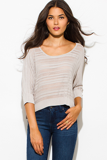 $15 - Cute cheap belted shorts attached long semi sheer skirt 20301 - taupe beige semi sheer stripe scoop neck dolman quarter sleeve sweater knit top