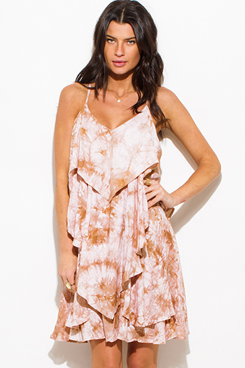 $15 - Cute cheap print boho kimono dress - taupe beige tie dye cut out cross back tiered boho mini sun dress