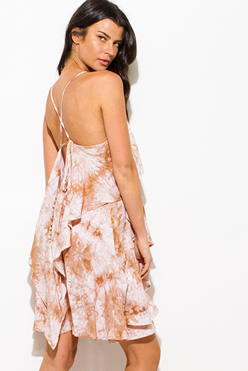 $15 - Cute cheap backless open back evening sun dress - taupe beige tie dye cut out cross back tiered boho mini sun dress
