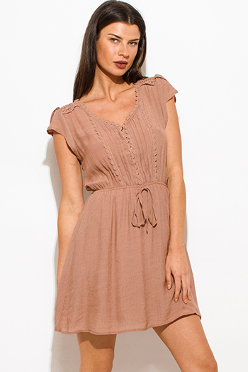 $15 - Cute cheap brown dress - taupe brown rayon gauze a line crochet contrast cap sleeve boho mini peasant dress