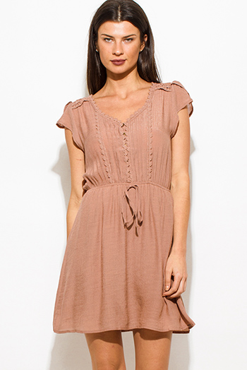 $15 - Cute cheap skater a line mini dress - taupe brown rayon gauze a line crochet contrast cap sleeve boho mini peasant dress