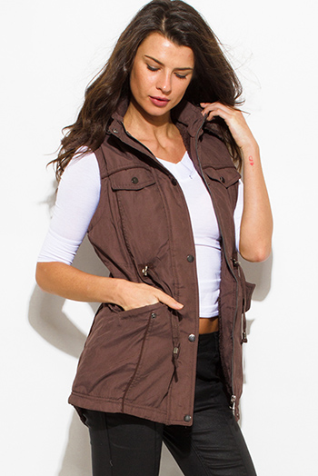 $30 - Cute cheap taupe chocolate brown zip up buttoned faux fur lined pocketed hooded drawstring puffer cargo trench vest top