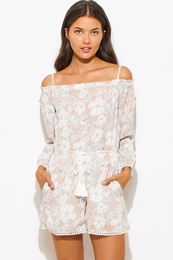 $30 - Cute cheap print cold shoulder blouse - taupe dusty pink floral print off shoulder long sleeve drawstring waisted pocketed romper playsuit jumpsuit