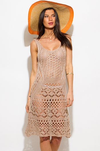 $20 - Cute cheap beige sun dress - taupe mocha beige sleeveless see through crochet boho beach cover up midi dress