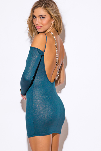$7 - Cute cheap long sleeve dress - teal blue metallic backless chain bejeweled one shoulder long sleeve fitted sexy club mini dress
