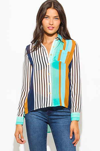 $15 - Cute cheap blue chiffon sheer blouse - teal blue multicolor stripe semi sheer chiffon quarter sleeve high low hem button up blouse top