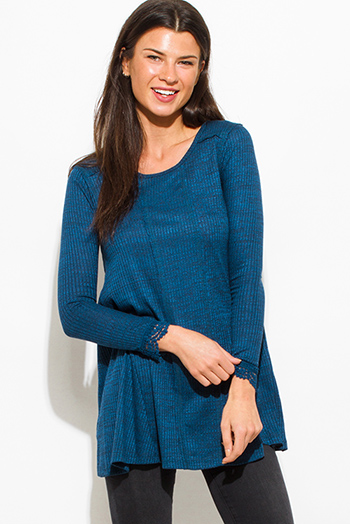 $15 - Cute cheap ribbed slit top - teal blue ribbed knit two toned crochet trim long sleeve tunic top