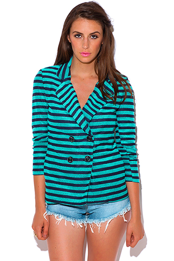 $15 - Cute cheap stripe blazer - teal green and navy blue stripe double breasted preppy blazer jacket