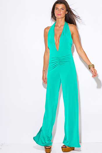 $15 - Cute cheap backless open back evening jumpsuit - teal green deep v neck ruched backless halter wide leg evening sexy party jumpsuit