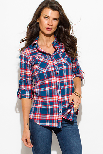 $15 - Cute cheap teal blue orange plaid flannel long sleeve button up blouse top