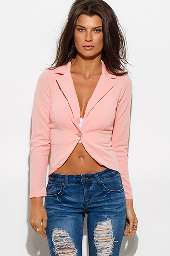 $15 - Cute cheap cute juniors fitted career blazer jacket 55345 - textured blush pink single button fitted blazer jacket top