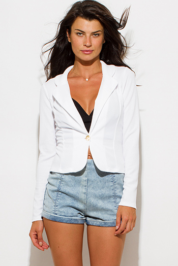 $15 - Cute cheap cute juniors fitted career blazer jacket 55345 - textured ivory white single button fitted blazer jacket top