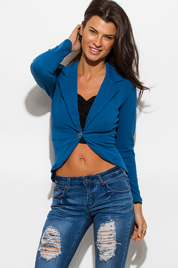 $15 - Cute cheap royal blue color block open blazer jacket top - textured teal blue single button fitted blazer jacket top