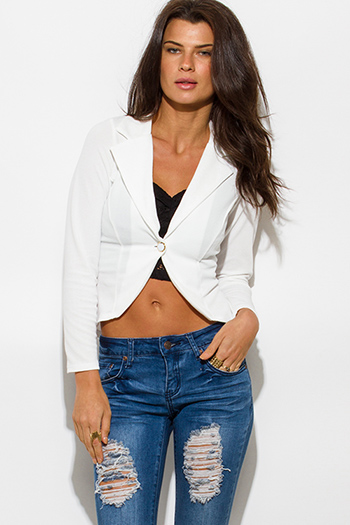 $15 - Cute cheap white lace blazer - textured white single button fitted blazer jacket top