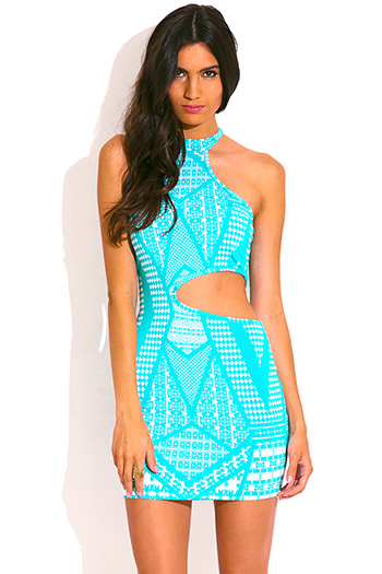 $15 - Cute cheap high neck party mini dress - turquoise blue print mock high neck cut out fitted sexy clubbing mini dress