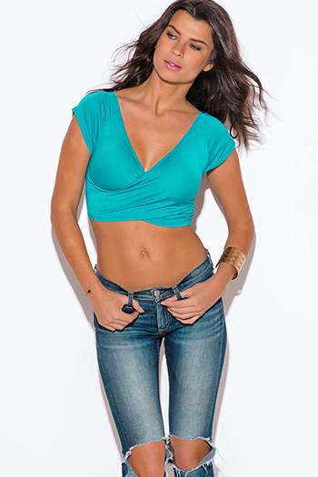 $7 - Cute cheap clothes - turquoise blue criss cross v neck fitted tee crop top